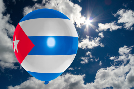 nationalistic: balloon in colors of cuba flag flying on blue sky