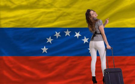 venezuela: young beautiful woman is traveling to venezuela