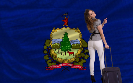 young beautiful woman is traveling to vermont Stock Photo