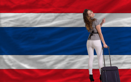 young beautiful woman is traveling to thailand Stock Photo