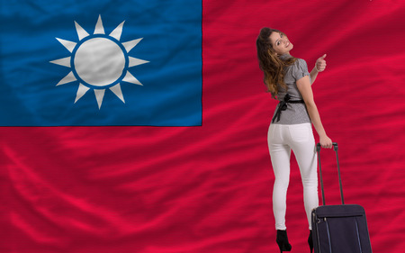young beautiful woman is traveling to taiwan Stock Photo