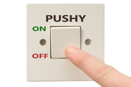 turning off: Turning off Pushy with finger on electrical switch