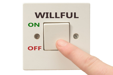 turning of Willful with finger on electrical switch