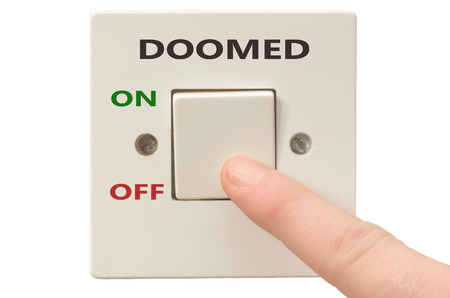 doomed: Turning off Doomed with finger on electrical switch Stock Photo