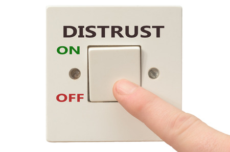distrust: Turning off Distrust with finger on electrical switch