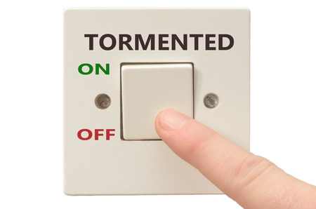 tormented: Turning off Tormented with finger on electrical switch