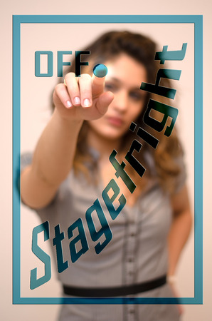 turning off: young woman turning off Stagefright on screen