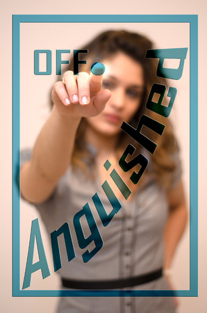 anguished: young woman turning offAnguished on hologram screen