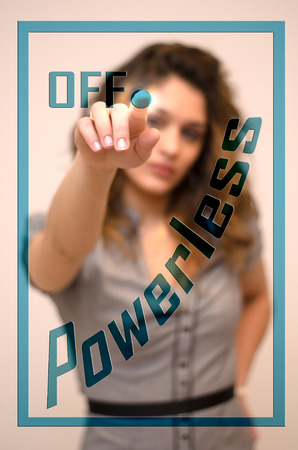 powerless: young woman turning off Powerless on digital panel