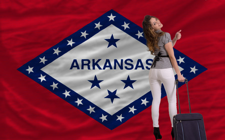 young beautiful woman is traveling to arkansas Stock Photo