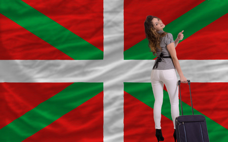 basque woman: young beautiful woman is traveling to basque Stock Photo