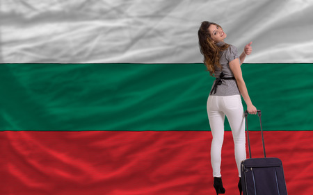 emigrant: young beautiful woman is traveling to bulgaria