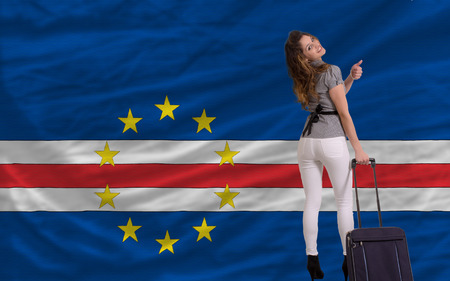 cape verde: young beautiful woman is traveling to cape verde Stock Photo