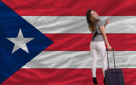 young beautiful woman is traveling to puertorico Stock Photo