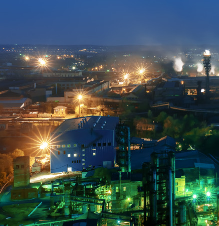 metallurgical: Night view  of industrial metallurgical  plant