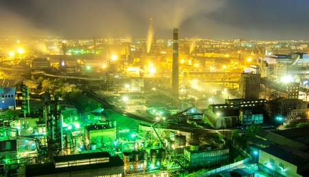 metallurgical: Night view  of industrial metallurgical  plant, Donetsk, Ukraine