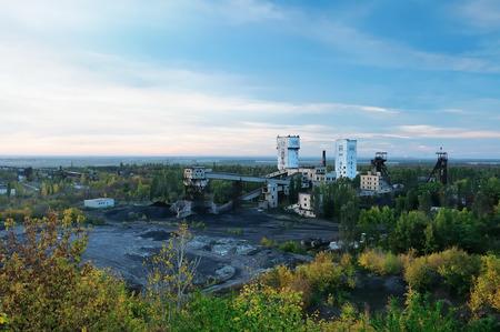 Coal mine outdoors, panorama    Donetsk Ukraine photo