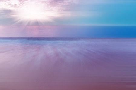 dramatic: abstract dramatic ocean seascape with amazing sky, natural with motion effect and long exposure Stock Photo