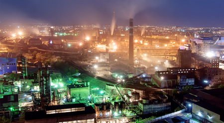 metallurgical: night metallurgical plant veiw