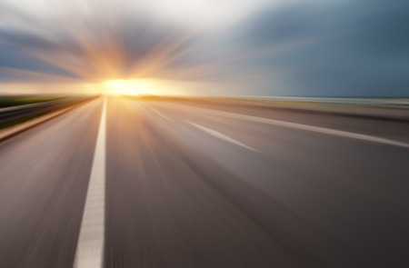 empty asphalt road on sunset Stock Photo