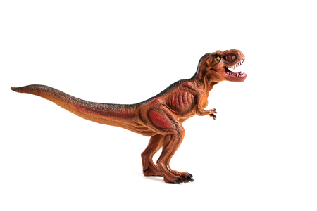 Red small dinosaur on a white background, non-existent animal, isolated