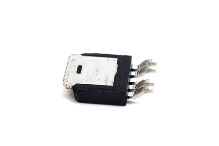 Black transistor on a white background close up Banco de Imagens - 114147572