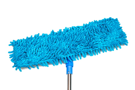 Mop and blue rag close-up, isolate on a white background Banco de Imagens