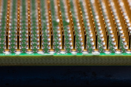 Contacts on the processor close up, background for text or texture Banco de Imagens