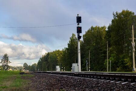 Railroad rails and traffic light with a red light bulb in forest