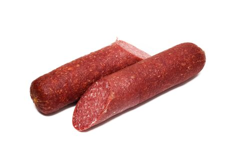 Smoked salami sausage isolated on a white background
