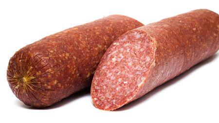 Smoked salami sausage isolated on white background 版權商用圖片