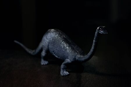 Black small dinosaur in the darkness, non-existent animal