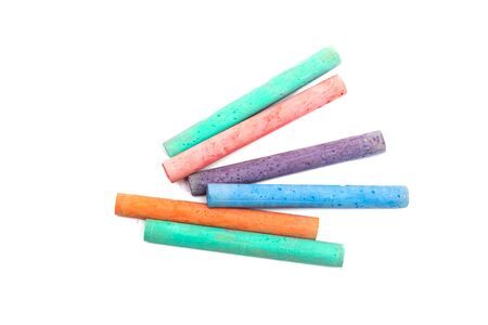 Multicolored crayons for drawing, isolated on a white background