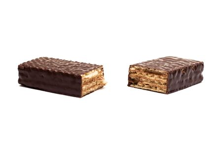 Chocolate wafer close up, isolated on a white background