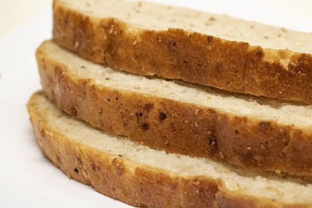 Three slices of bread close up on a white background 写真素材