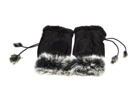 Womens gloves with fur close up isolated on white background