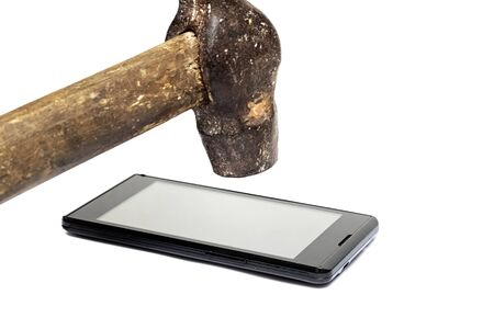 Phone under the hammer isolated on a white background