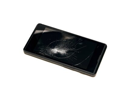 Broken display phone close up isolated on white background