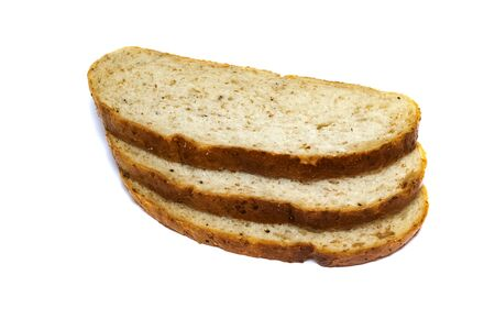Three slices of bread close up isolated on a white background 写真素材