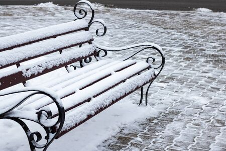 Park bench in retro style under the snow
