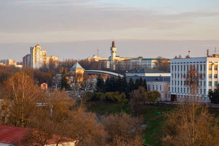 BELARUS, VITEBSK - OCTOBER 21, 2019: View of the autumn city 에디토리얼