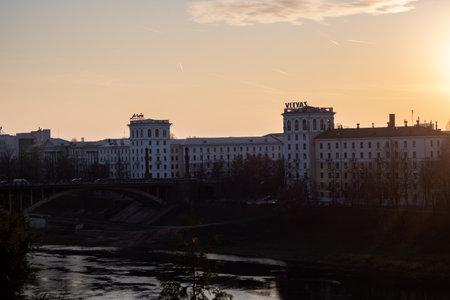 BELARUS, VITEBSK - OCTOBER 21, 2019: View of the bridge at sunset 에디토리얼