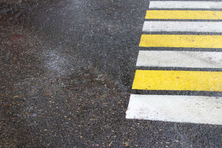 Raindrops on asphalt and pedestrian crossing, background