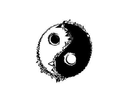 Abstract black and white ying yang sign, vector illustration