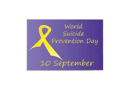 Suicide Day lettering and yellow ribbon in purple ribbon frame, vector illustration Archivio Fotografico