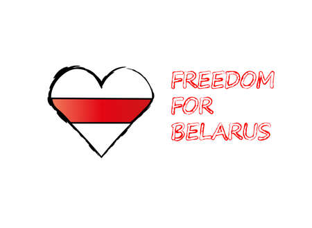 White-red-white heart and the inscription freedom for Belarus