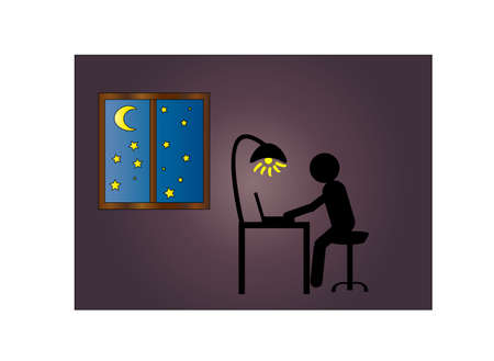 A man sits at a computer in the dark and a window with the moon and stars 向量圖像