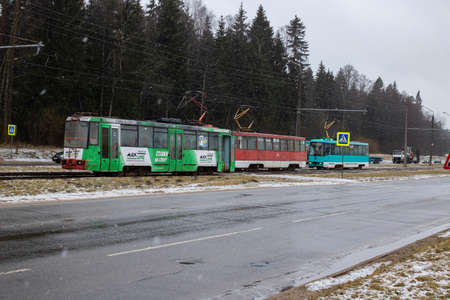 BELARUS, NOVOPOLOTSK - 17 MARCH, 2021: Queue of trams on rails close up Publikacyjne
