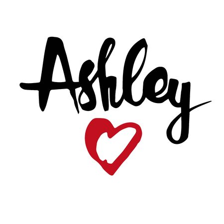 Female name Ashley. Hand drawn vector girl name. Drawn by brush words for poster, textile, card, banner, marketing, billboard. Vettoriali