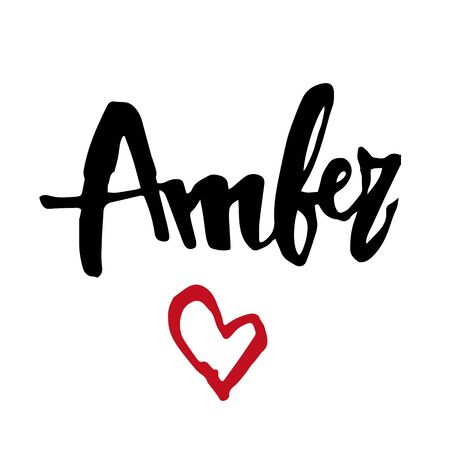 Female name Amber. Hand drawn vector girl name. Drawn by brush words for poster, textile, card, banner, marketing, billboard.